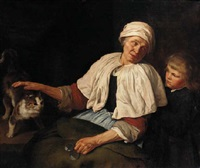 an elderly woman with a boy and a cat in an interior by jan van pee