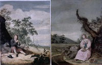 a pastoral portrait of a young man as a shepherd playing a flute by willem (guilliam) de heer