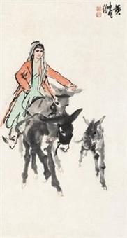 骑驴图 by huang zhou