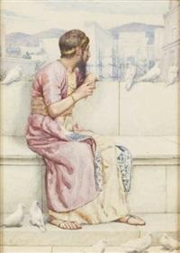 roi aux colombes accoudé contemplant la construction d'un temple by henry ryland