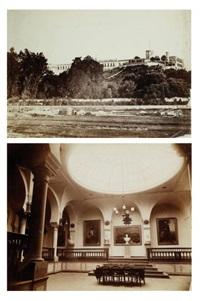 le château de chapultepec (+ salle des séances de l'empereur maximilien, smllr; 2 works) by francois aubert