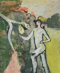 figure and flowering branch by keith vaughan