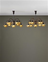 ten-armed cascade ceiling lights, with type 1/1 shades (pair) by poul henningsen
