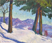 view of high-mountain (winter scene) by géza kádár