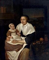 jeune femme et enfant by g. metsu