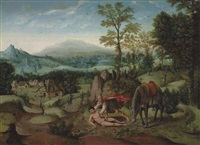 an extensive mountainous landscape with the good samaritan by lucas gassel