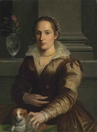 portrait of a lady, half-length, in a rust dress and an elaborate headdress, a rose in her right hand, with a dog, beside a vase with roses and snowdrops, in an interior by alessandro di cristofano allori