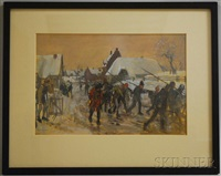 sketch for revolte des flamands by charles hoffbauer