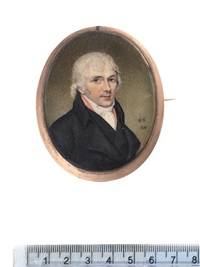 a gentleman, wearing black coat and waistcoat, pink solitaire, white chemise, stock and cravat, powdered hair by william bate