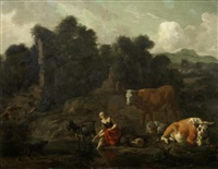 a shepherdess resting by a river with her flock by dirk van bergen
