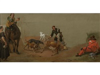 a study of figures and animals by philips wouwerman