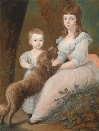 portrait of two girls and their dog by jordanus hoorn