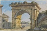 avanzo del tempio della concordia; cascatelle nella villa maecenas a tivoli; tempio della fortuna virile; arco di galliano (4 works) by carlo labruzzi
