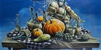 still life with pumpkins and bottles by stuart m. armfield