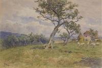 paesaggio di campagna con ulivi, casa colonica e pecore by filippo anivitti