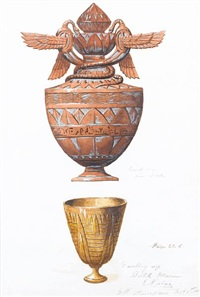 egyptian (study)(+ 4 others, smllr; 5 works) by george hippolyte aurousseau
