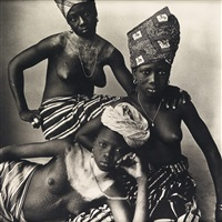 three dahomey girls, one reclining by irving penn