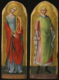 saint catherine of alexandria and saint sigismund of burgundy (pair) by lorenzo veneziano