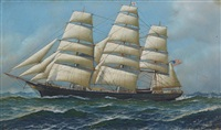 the american clippership gamecock under full sail by antonio jacobsen