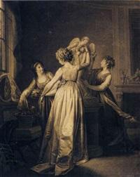 trois jeunes filles dans un intérieur décorant de fleurs une statue de l'amour by jean-simon fournier