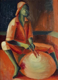 drummer in red by jimo akolo