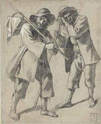 paysan portant un panier sur son épaule et la même figure s'appuyant sur un bâton by francesco londonio