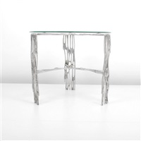 aluminum dining or center hall table by arthur court