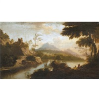 a river landscape with fishermen in the foreground, a castle beyond by anglo-flemish school (18)