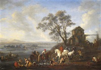 river scene with numerous figures and horses near a ferry by pieter wouwerman