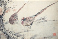 쌍치도(雙雉圖) (couple of pheasants) by sim sa-jong