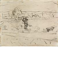 untitled (man with rake, wheelbarrow, in field) by arshile gorky