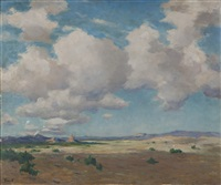 clouds in a western landscape by albert lorey groll