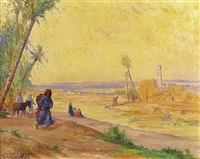 scène champêtre près d'un village by louis françois cabanes