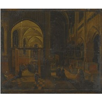 interior of a gothic cathedral at night with a mass being celebrated in a side chapel by hendrick van steenwyck the younger