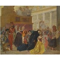 return of pope pius ix to rome in (study) by karl pavlovich bryullov