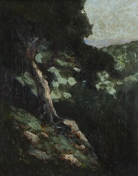wooded scene with ocean view by william keith