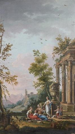 une sibylle prêchant près de ruines by jean baptiste charles claudot