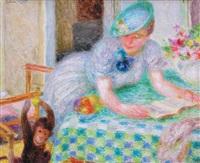 femme lisant et le singe by mieszko (mieczyslaw) jablonski