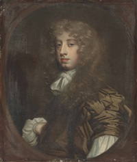 portrait of edward, lord latimer (1665-1688), half-length, in a brown coat with a white collar and sleeves, in a feigned oval by sir peter lely