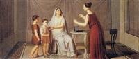 cornelia, madre dei gracchi, mostra i figli all'amica che mostra le perle, dicendo questi sono i miei gioielli by giuseppe patania