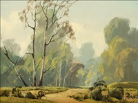 landscape, sycamore and eucalyptus trees by karl albert