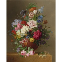 still life of roses, lilac, peonies, tulips, an iris, auriculas, fritillaria imperialis, morning glory and other flowers in a terracotta vase on a stone ledge, with a sprig of honeysuckle by arnoldus bloemers