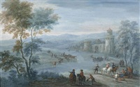 a river landscape with figures on horseback and cattle outside a walled town by mathys schoevaerdts