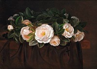 a wreath of white roses by alfrida baadsgaard