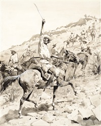 uprising of the yaqui indians - yaqui warriors in retreat by frederic remington