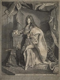 louis xiv (+ 5 others, various years, sizes & states; 6 works, 2 after rigaud) by pierre drevet