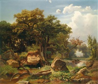 aulandschaft mit storch by johann (jan) kautsky