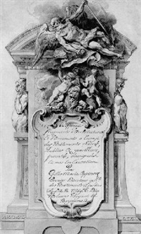 design for a frontispiece with an allegory of time flying over three putti playing with a lion by gilles-marie oppenort
