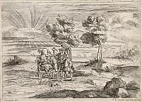des chasseurs à l'oiseau (from quarante-cinq morceaux gravés d'après des dessins du cabinet jabach,...) by jean-baptiste corneille