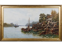 fishermen in rowing boats with their lobster pots coming in for the day, a woman beside her thatched cottage in the foreground by walter stuart lloyd